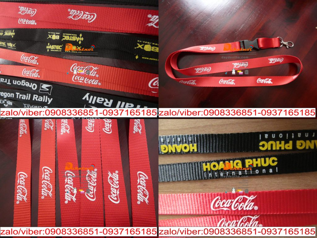 dây đeo thẻ coca cola , dây nylon 2cm x90 , dây đeo thẻ in nhiệt nổi ,in cao su cao cấp