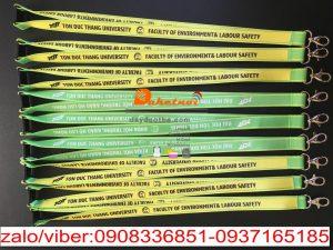 Dây đeo thẻ sinh viên Tôn Đức thắng khoa môi trường dây nylon 2cm x90 móc oval , in nhiệt chìm 2 mặt -2 line.