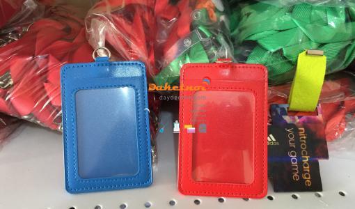 bao thẻ da 2 túi màu xanh dương , đỏ ,đen